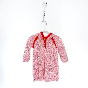STEM baby organic cotton Sweater dress hooded red
